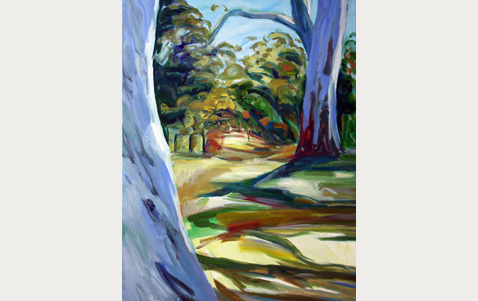 Painting of path through trees
